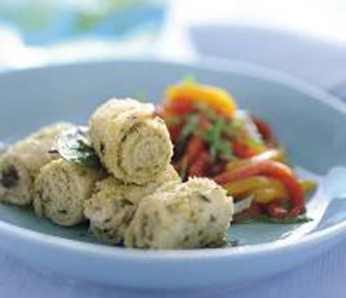 Involtini di pesce spada con peperoni all'aglio
