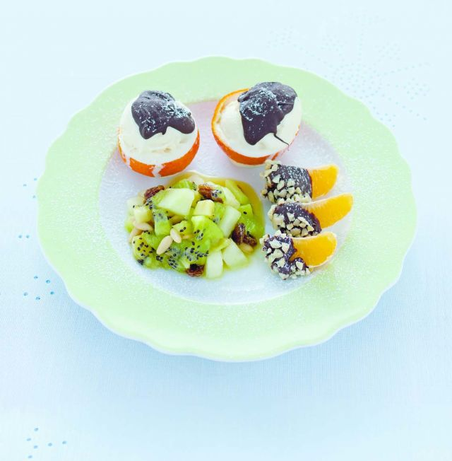 Trio di dessert alla frutta invernale con cioccolato