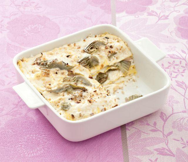 Lasagne bianche di carciofi e noci
