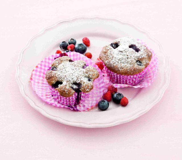 Muffin di grano saraceno ai mirtilli