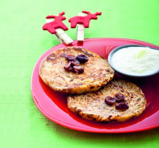 Roesti alle 4 patate con mirtilli rossi e crescenza ai porri