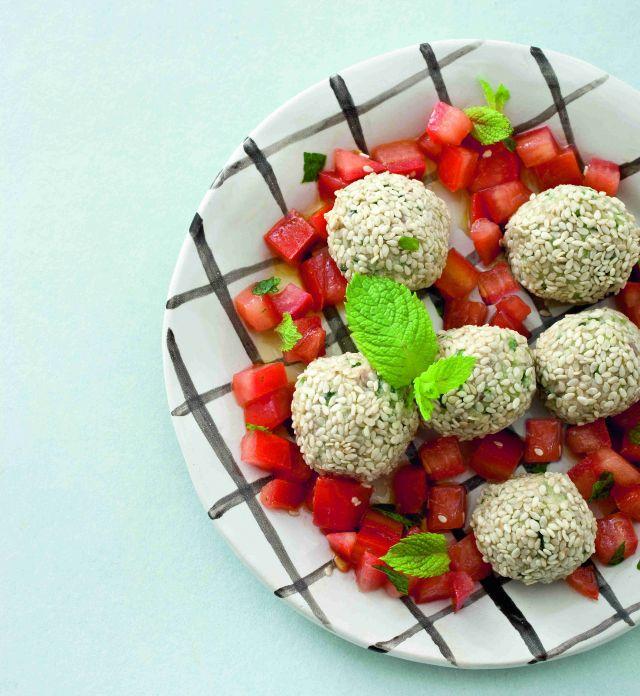 Bocconcini al sesamo con pomodori alla menta