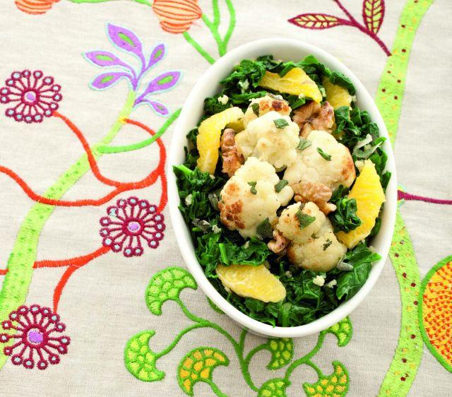Cavolfiore alle noci con spinaci allo zenzero