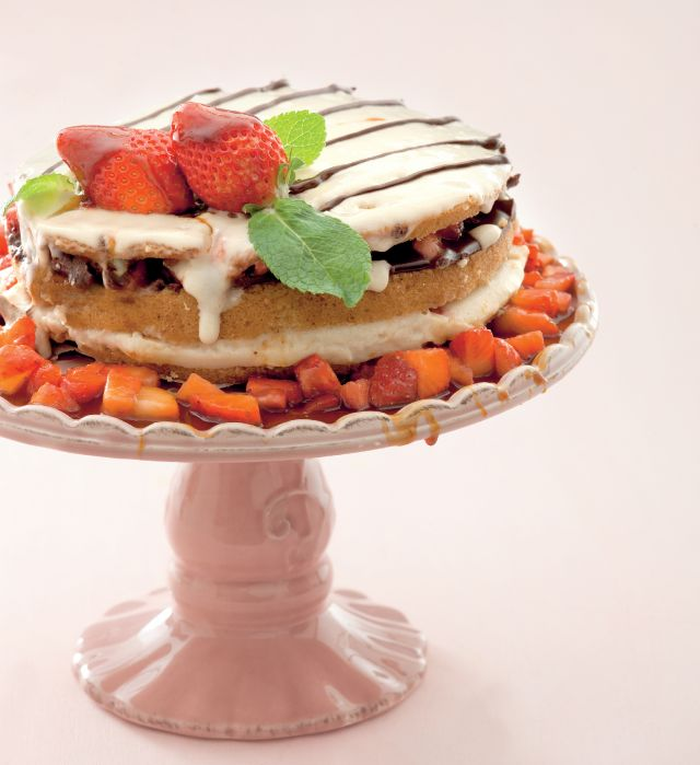 Passion cake alle fragole con doppia crema di riso e cioccolato