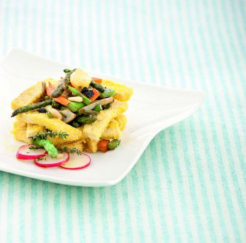 Cestini di tofu con stufato di verdure novelle in essenza di limone