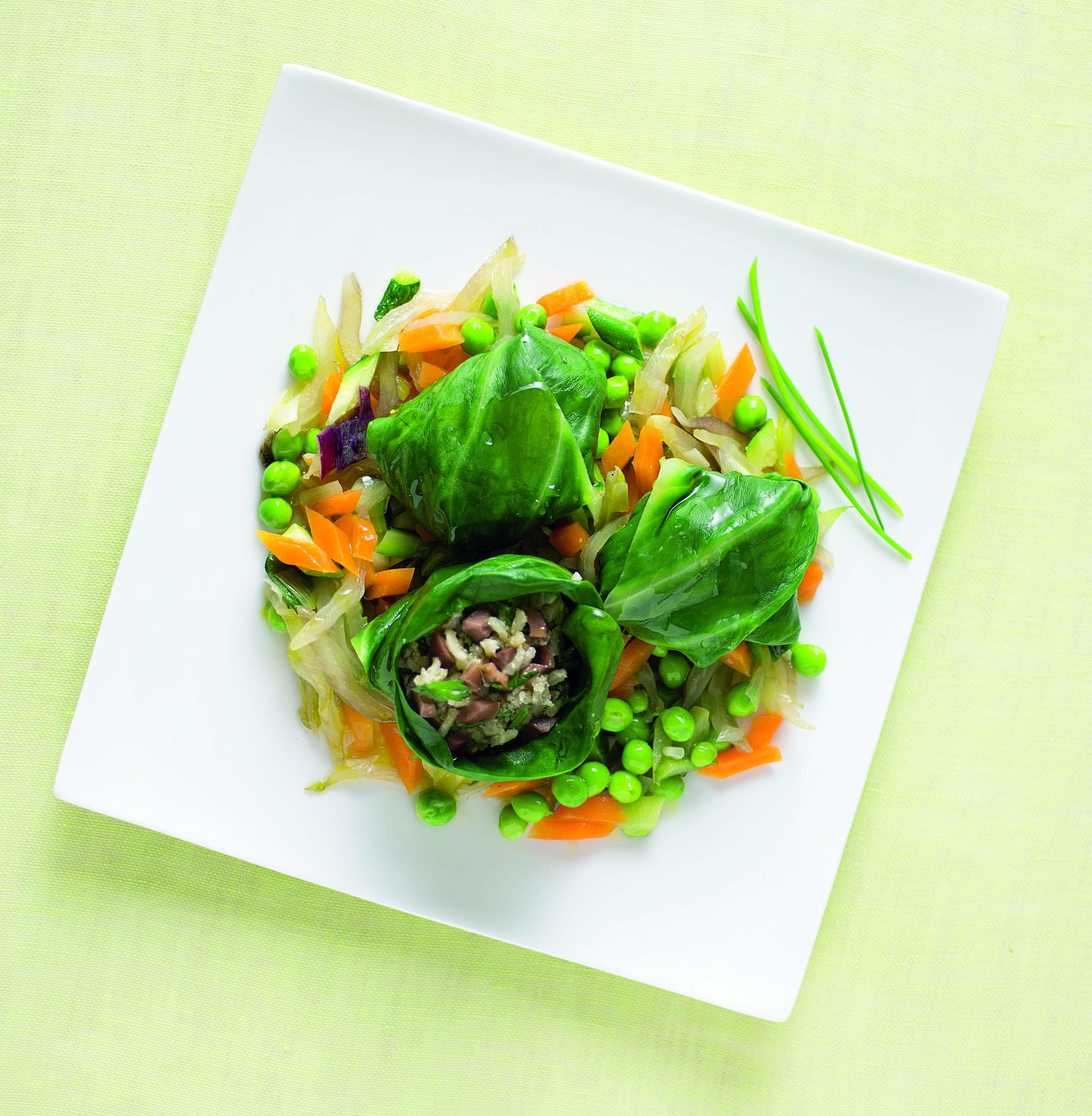 Involtini di riso con verdure saltate