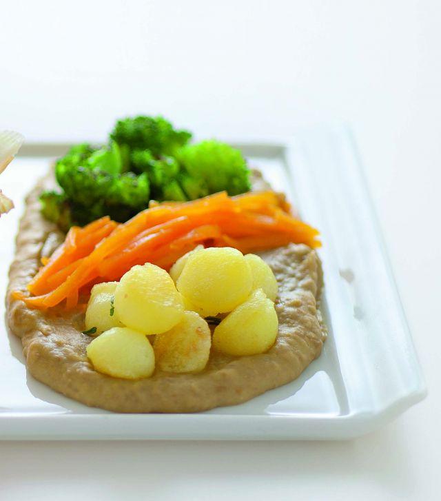 Tris di ortaggi in crema di lenticchie