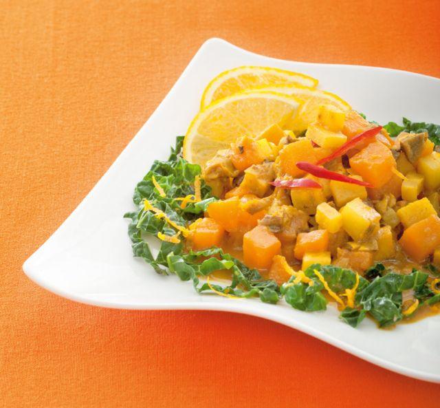 Brasato di ortaggi alla curcuma con verza all'arancia