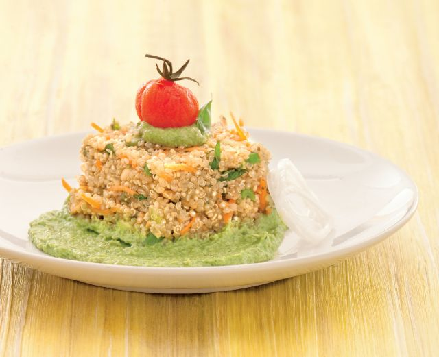 Tortino di quinoa al pesto di fagiolini