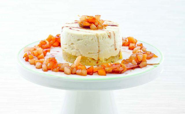 Cheesecake alla ricotta di capra con frutta caramellata