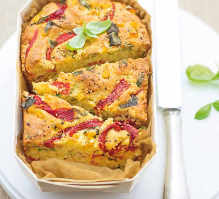Plumcake al mais con peperoni e basilico