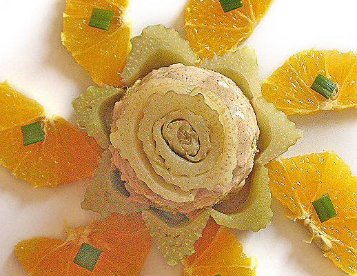 Flan di cardi con arancia e salsa di funghi