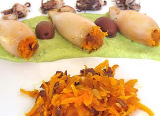calamari ripieni di carote con salsa di piselli allo zenzero
