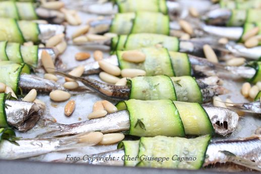 Alici in involtini di zucchine al timo