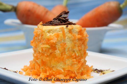 Bavarese di carote all'olio con linguine alla cannella