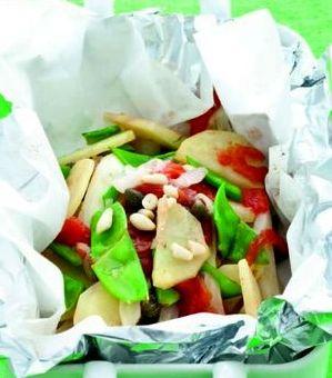 Cartocci piccanti di taccole e patate novelle alla menta