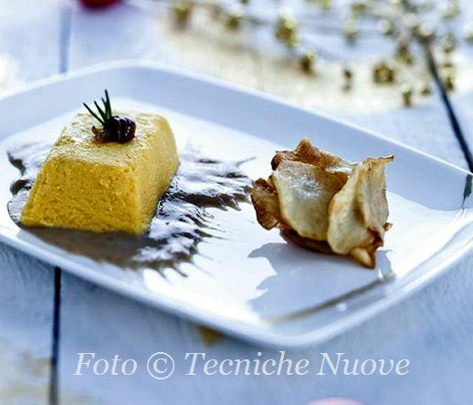 Sformatini di zucca al limone con salsa di topinambur e funghi 518