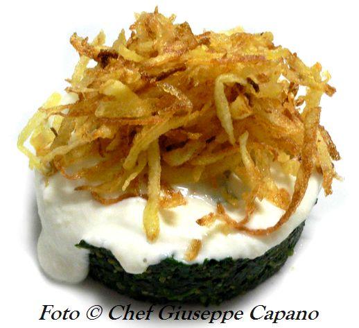 Spinaci in agrodolce con salsina al limone e patate croccanti 518