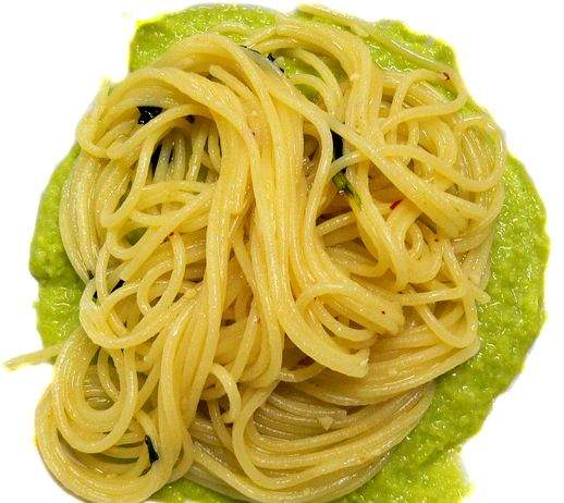 Spaghetti al peperoncino e fave 518