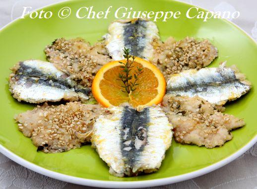 Sardine gratinate all'arancia, timo e semi di sesamo 518