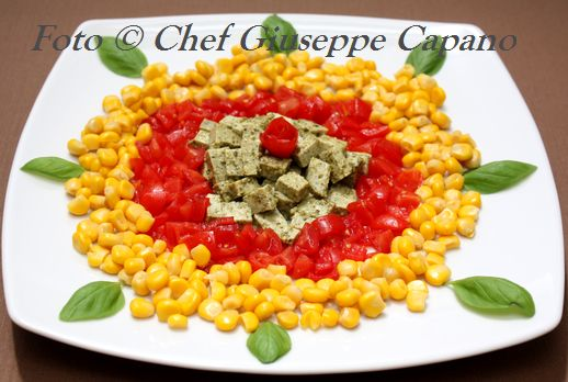 Tofu al basilico con pomodori e mais 518