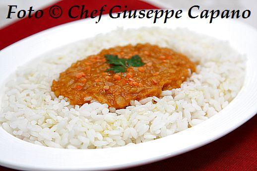 Riso bianco con lenticchie rosse in salsa 518