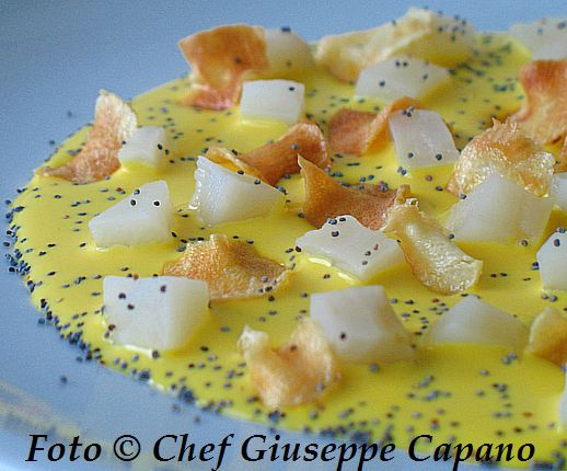 Fonduta gialla con topinambur morbido e croccante 518
