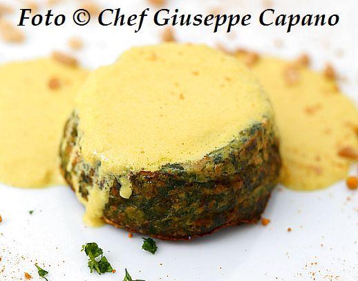 Sformato di spinaci con salsina gialla alla curcuma 518