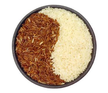 riso bianco e riso rosso