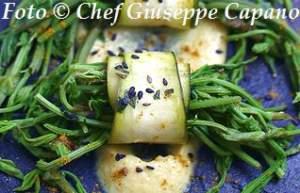 Luppolo selvatico in rotolo di zucchine e salsa di ceci 318