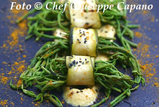 Luppolo selvatico in rotolo di zucchine e salsa di ceci 518