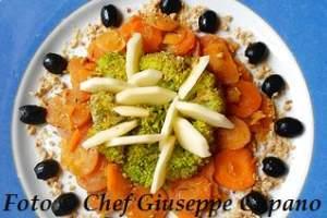 Contornata di broccoletti, carote, mela e mandorle 318