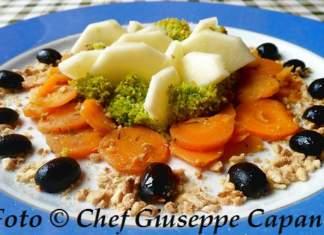 Contornata di broccoletti, carote, mela e mandorle 518