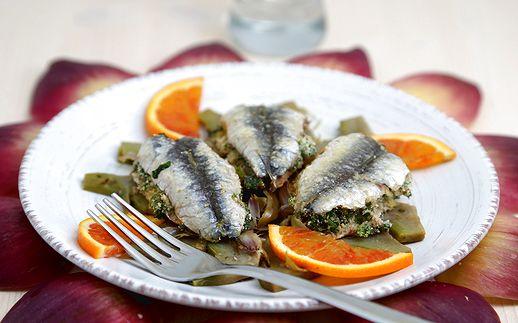 Alici all'arancia con spinaci e carciofi 518
