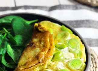 omelette morbida con i porri