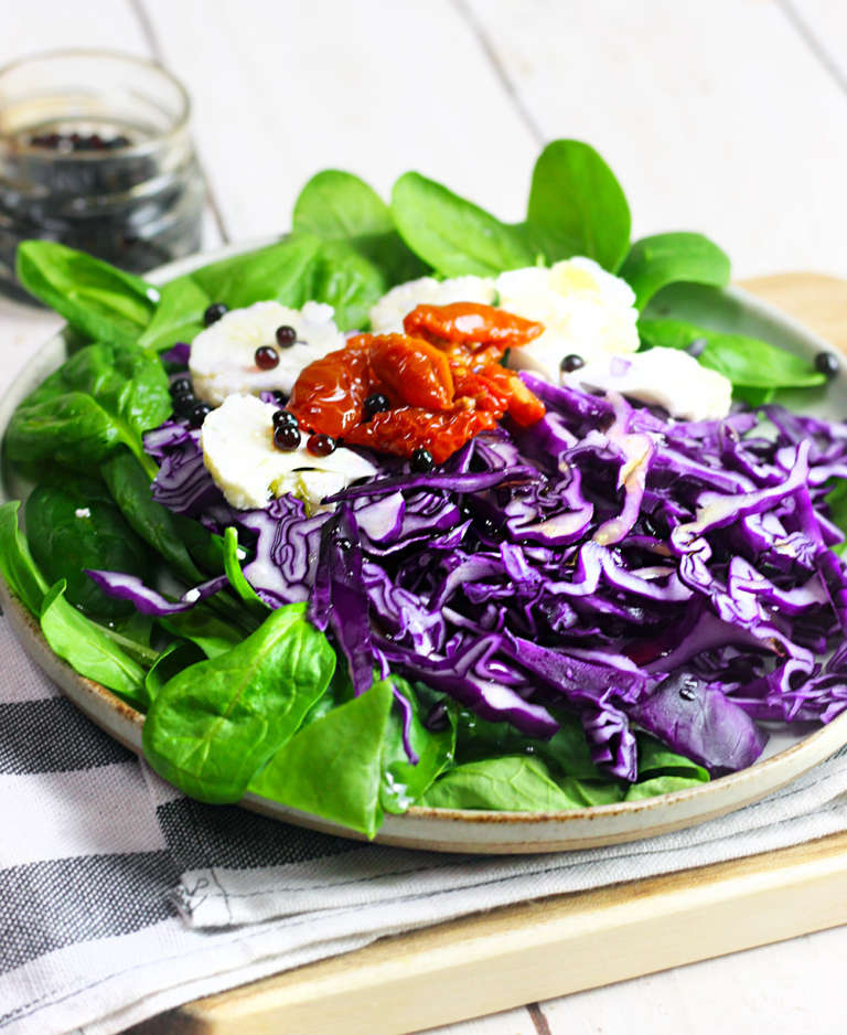 Insalata spinacino, cavolo rosso, cavolfiore