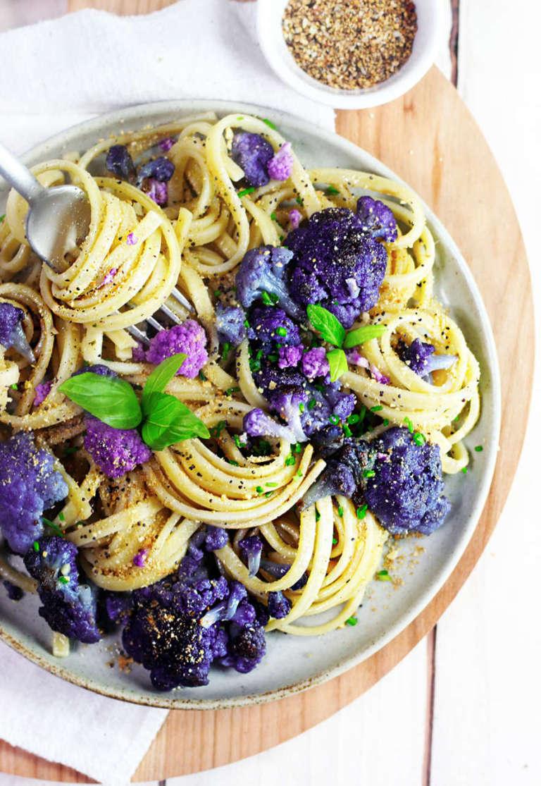 Pasta al broccolo viola vegan senza glutine