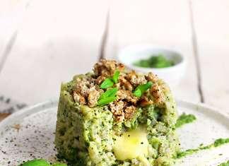 Tortino di orzo in crema di broccoli con cuore di brie