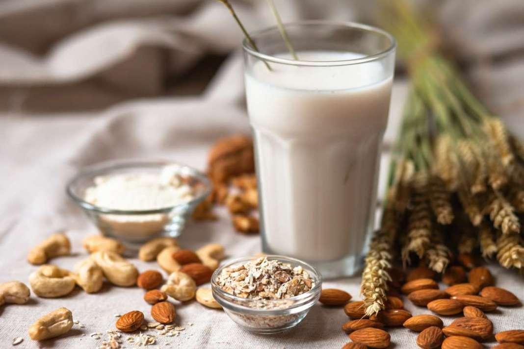 bicchiere di latte vegetale con semi
