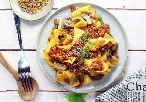 Ragù vegan di lenticchie, finocchi, pomodoro