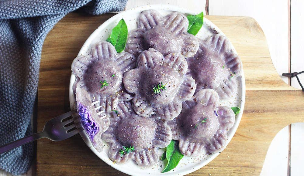 Ravioli facili viola senza uova