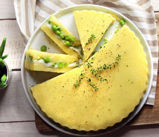 Tortino di polenta e piselli