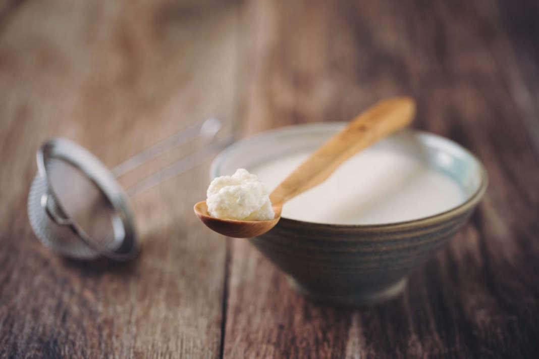 Granuli di kefir in un cucchiaio di legno