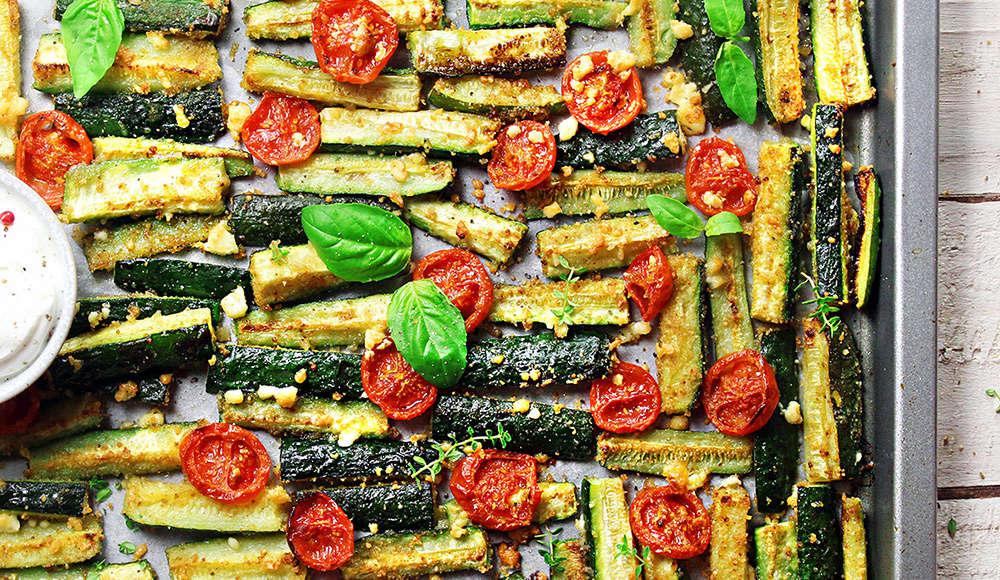 Zucchine e pomodorini gratinati con la feta