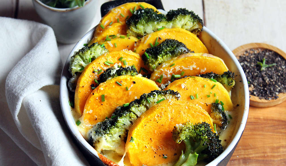 Fette di zucca e broccolo al forno