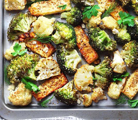 Broccoli Cavolfiori e feta al forno