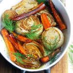 Finocchi, carote, cipolle balsamiche al forno