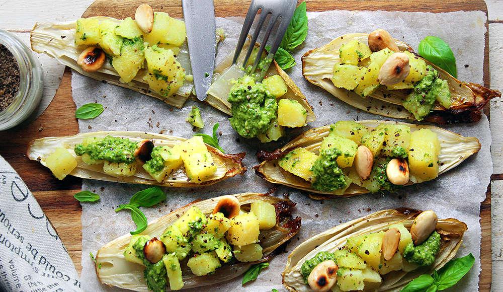 Indivia ripiena di patate al pesto