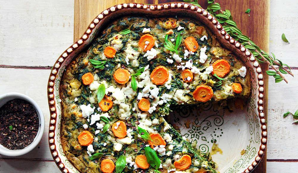 Tortino di spinaci, carote, senza glutine