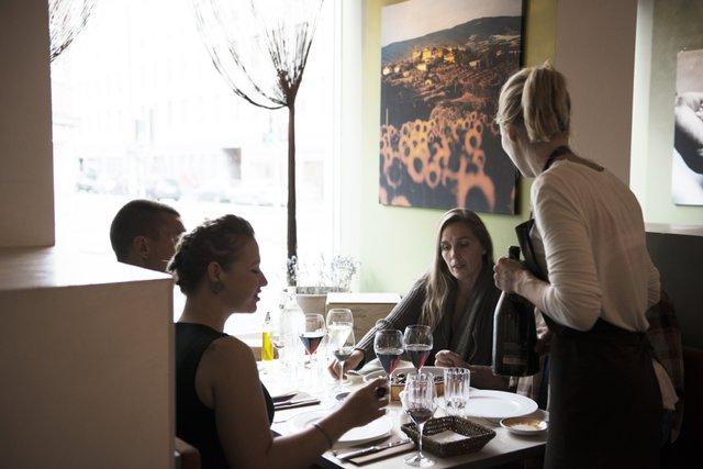 interno del ristorante Ché-Fé Biotrattoria a Copenhagen